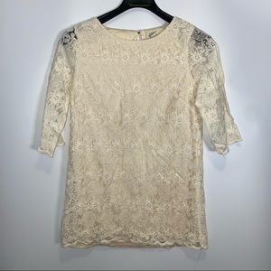 Forever 21 Women's Lace Embroidered Cream Top Sz L